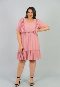 Sukienka KARKO dla puszystych midi z krótkim rękawem