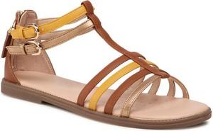 Brązowe sandały Geox z klamrami z płaską podeszwą