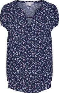 Granatowa bluzka Esprit z krótkim rękawem w stylu casual