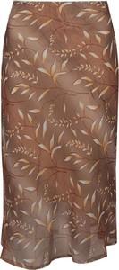 Brązowa spódnica Fokus z tkaniny midi
