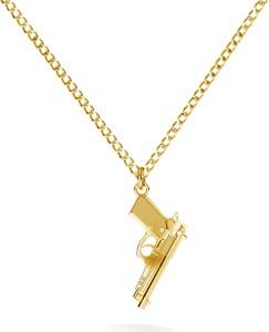 GIORRE Srebrny naszyjnik pistolet beretta 925 : Długość (cm) - 60, Kolor pokrycia srebra - Pokrycie Żółtym 24K Złotem