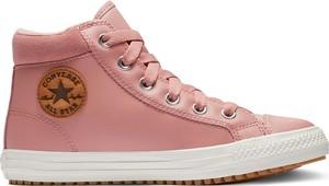 Różowe trampki dziecięce Converse ze skóry