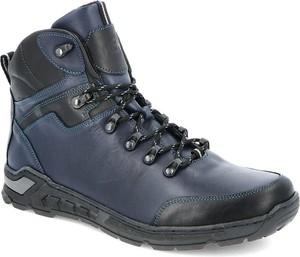Granatowe buty zimowe Kent ze skóry sznurowane