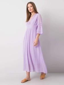 Fioletowa sukienka Factory Price z długim rękawem z dekoltem w kształcie litery v z bawełny