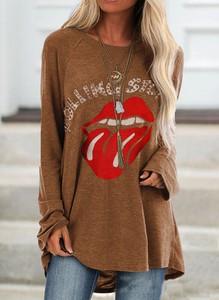 Brązowa bluzka Sandbella z długim rękawem