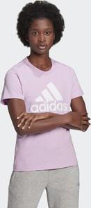 Różowy t-shirt Adidas z okrągłym dekoltem z bawełny