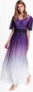 Fioletowa sukienka L'AF z tkaniny z krótkim rękawem