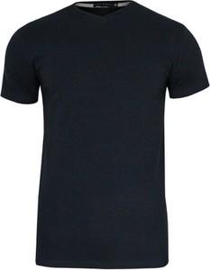 Granatowy t-shirt Just yuppi z tkaniny