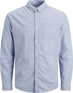 Niebieska koszula Jack & Jones z bawełny z długim rękawem