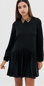 Czarna sukienka Asos oversize z długim rękawem mini