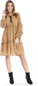 Brązowa sukienka N/A oversize mini w stylu casual