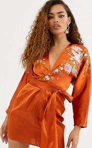Pomarańczowa sukienka Asos z dekoltem w kształcie litery v