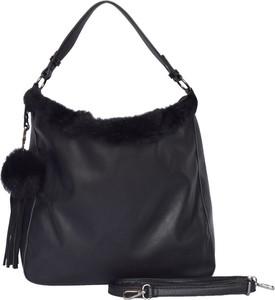 Czarna torebka Bestini w stylu glamour na ramię
