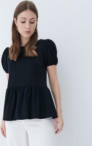 Czarna bluzka Mohito w stylu casual z okrągłym dekoltem