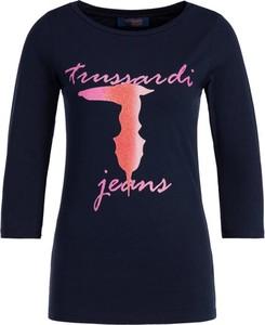 Granatowa bluzka Trussardi Jeans z okrągłym dekoltem w stylu casual