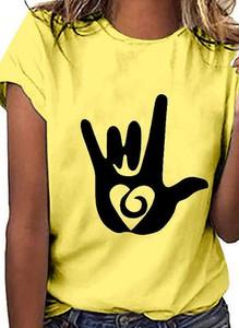 Żółta bluzka Sandbella z krótkim rękawem