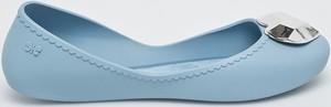 Błękitne baleriny Zaxy w wakacyjnym stylu z płaską podeszwą