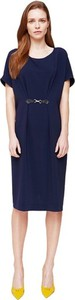 Niebieska sukienka ECHO midi z krótkim rękawem