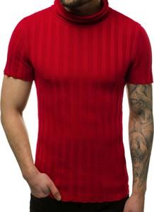 Czerwony sweter ozonee.pl z bawełny w stylu casual