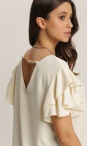 Bluzka Renee w stylu casual z okrągłym dekoltem z długim rękawem