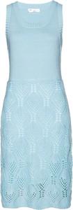 Niebieska sukienka bonprix bpc selection z dzianiny bez rękawów