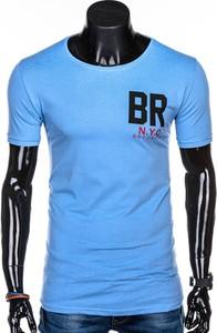 Niebieski t-shirt Edoti z nadrukiem z krótkim rękawem