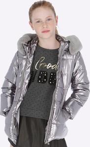 Srebrna kurtka dziecięca Mayoral dla dziewczynek