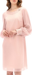 Różowa sukienka POTIS & VERSO mini z długim rękawem z szyfonu