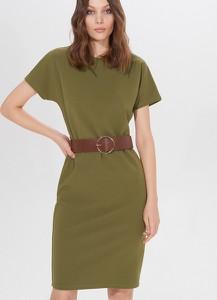 Zielona sukienka Mohito z krótkim rękawem dopasowana