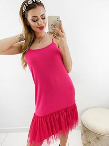 Różowa bluzka Novvi.pl w stylu casual na ramiączkach