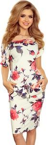 Sukienka NUMOCO midi z okrągłym dekoltem z krótkim rękawem