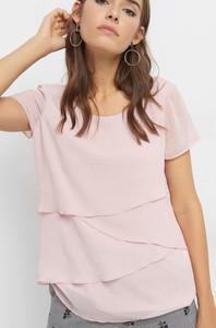 Bluzka ORSAY z tkaniny z krótkim rękawem z okrągłym dekoltem