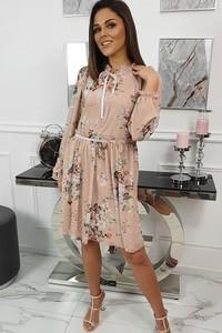 Różowa sukienka fashion-freak.pl mini z weluru z długim rękawem