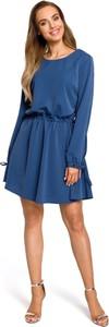 Niebieska sukienka MOE rozkloszowana midi z długim rękawem