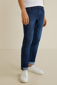 Niebieskie jeansy Mango Man z bawełny