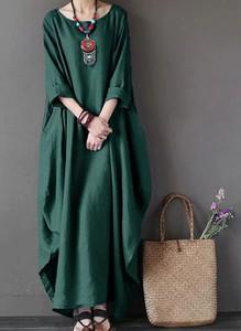 Sukienka Arilook z długim rękawem maxi z dekoltem w kształcie litery v