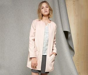 Różowy płaszcz Tchibo z bawełny w stylu casual
