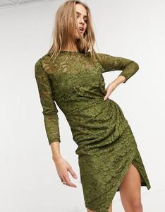 Zielona sukienka Little Mistress midi z długim rękawem kopertowa