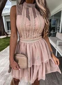 Sukienka Sandbella z okrągłym dekoltem bez rękawów z tiulu