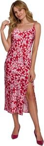 Czerwona sukienka Makover z tkaniny maxi