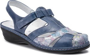 Sandały Comfortabel na niskim obcasie z nubuku na rzepy