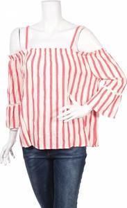 Czerwona bluzka Mia & Mimi z dekoltem w karo z długim rękawem w stylu casual