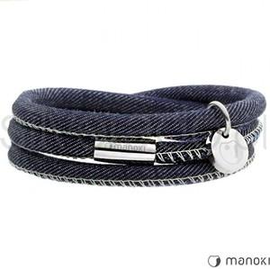 Silverado oryginalna bransoletka z jeansu przeszywanego białą nicią 77-ba447jnw
