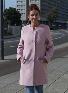 Różowy płaszcz Caro Fashion z wełny w stylu casual