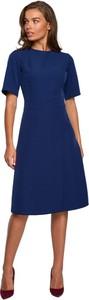 Sukienka Style z okrągłym dekoltem midi trapezowa