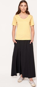 Żółty t-shirt Byinsomnia z krótkim rękawem w stylu casual
