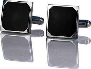 Em Men`s Accessories Spinki do mankietów klasyczne srebrne kwadratowe z oczkiem EM 7