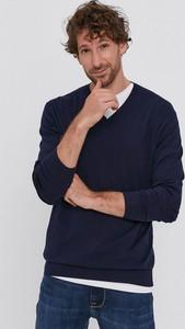 Granatowy sweter United Colors Of Benetton z bawełny