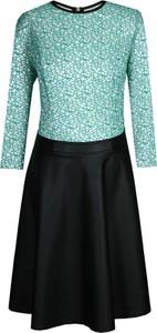 Sukienka Fokus midi z okrągłym dekoltem ze skóry