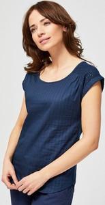 Granatowa bluzka Moodo z krótkim rękawem z okrągłym dekoltem w stylu casual